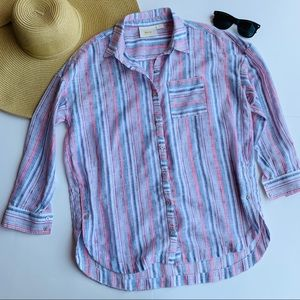 Anthro Maeve striped button down blouse